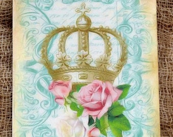 French Crown Pink Rose Tags #24