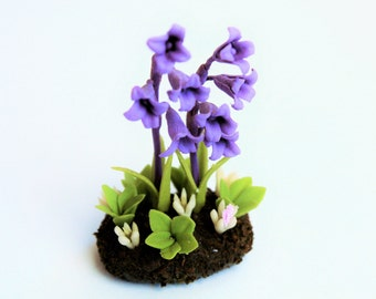 Miniature Plants Polymer Clay Flowers Supplies for Dollhouse, Bluebell