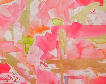 "Watercolor Pink Abstract Art Print, ""Rouge"", Wall Art, Various Sizes"