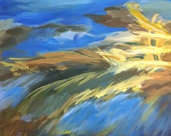 Daybreak, Abstract Expressionist Painting, 12x12 inches on gallery wrapped canvas, blue yellow brown, by Artist Karen Koch.