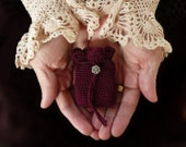 Natural Perfume Vespertina - Romantic Solid Fragrance in an Ornate Vintage Style Compact in a Deep, Garnet Red Crochet Pouch