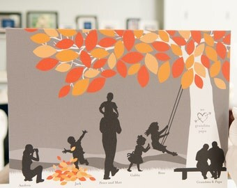 Gift for Grandparents, Grandchildren Silhouette Art Print Personalized w/ Grandchildren Silhouettes // Choose Size & Type // H-F05-1PS HH9