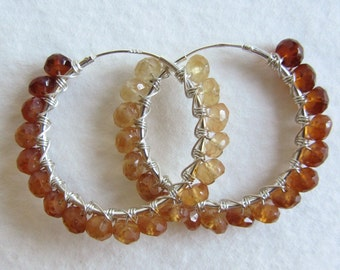 Hessonite Garnet Hoop Earrings - Large Sterling Silver Endless Hoops