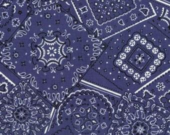 Michael Miller  Bandana Cowboy Fabric in Blue 1/2 Yard