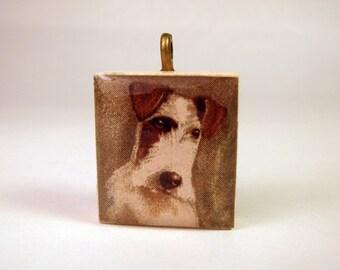 Wire FOX TERRIER / SCRABBLE Pendant / Handmade / Dog Lover Jewelry