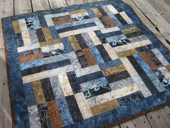 Batik Lap Quilt Baby Quilt Blue And Brown