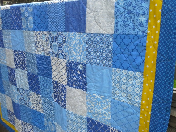 Blue And White Quilt Patchwork Spa Fabric By Olivestreetstudio