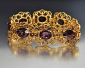 Purple Glass Gold Filigree Art Deco Bracelet Marcasite Bracelet Vintage Art Deco Jewelry