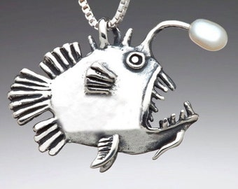 Custom Listing - Angler Fish Necklace with White Pearl - 2 Month Layaway for Sun - 2nd Installment