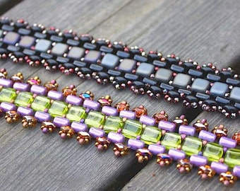 Sofie - DIY tutorial, bracelet with Czech Mate Tile, Rulla and Super Duo beads