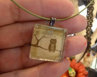 Owl Necklace, with a little owl picture , lime green cable necklace .
