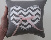 Chevron Heart Wedding Ring Bearer Pillow 8 x 8 inches - Choose your fabric and ink color