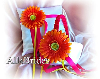 Gerber Daisy Wedding Flower Girl Basket and Ring Bearer Pillow Fuchsia and Yellow Spring or Summer Weddings