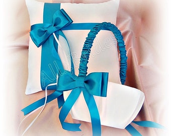 Ring bearer pillow and flower girl basket - Turquoise wedding pillow and basket set.