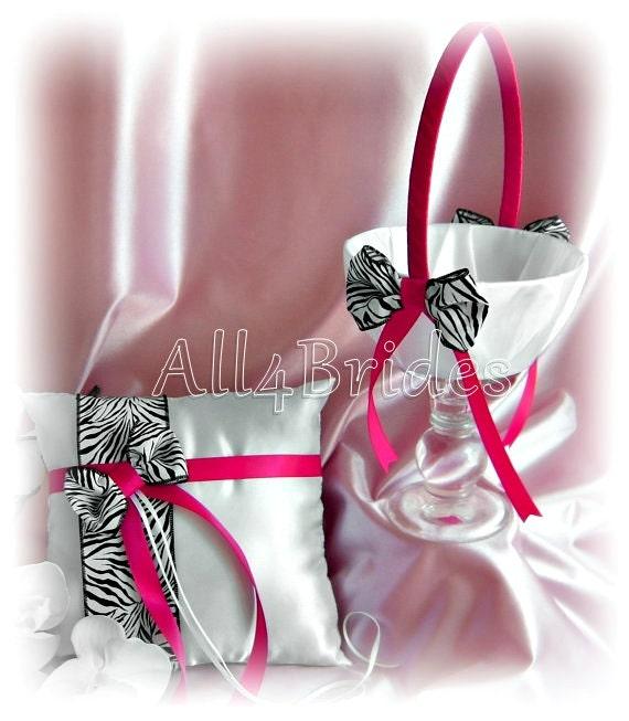 Zebra Wedding Flower Girl Basket Ring Bearer Pillow Fuchsia Pink,  Zebra Basket and Pillow - Wedding Ceremony Decor