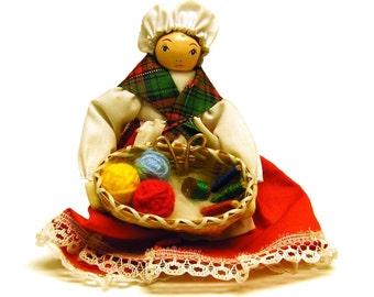 Vintage Handmade Spinner Knitter Crafter Doll Ornament