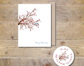 Christmas Card . Holiday Card Set . Cards Holidays . Cards Christmas - Winter Berry Love Birds