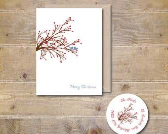 Christmas Card . Holiday Card Set . Cards Holidays . Cards Christmas - Winter Berry Love Birds