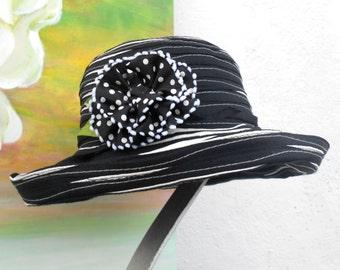 SUN Hat----RIBBON Hat---black/white color....
