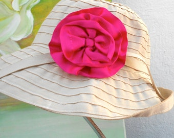 SUN Hat----SUMMER Hat----RIBBON Hat.....beige/creme color