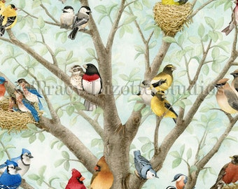 The Bird Tree- an archival watercolor print by Tracy Lizotte