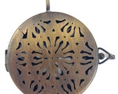 2 pendants,  Flower Filigree Shadowbox, vintage brass, copper, or silver