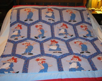 Handmade Baby Vintage Raggedy Ann and Andy Cotton Baby/Toddler Quilt-Newly Made 2016