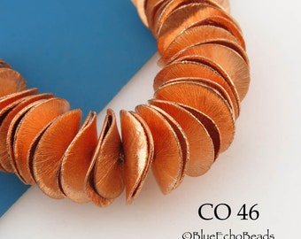 14mm Potato Chip Copper Beads, Brushed Copper, Wavy Disk,  Full Strand (CO 46)  42 pcs BlueEchoBeads