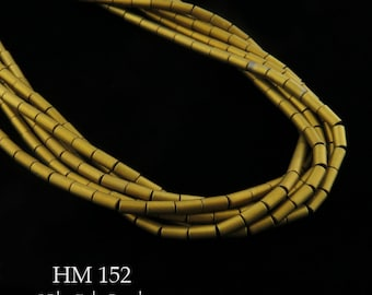"4mm Matte Gold Hematite Long Tube Beads Gold Matte Finish 2mm x 4mm (HM 152) 16 "" Full Strand BlueEchoBeads"