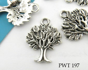 21mm Small Tree of Life Charm Pewter  (PWT 197) 10 pcs BlueEchoBeads