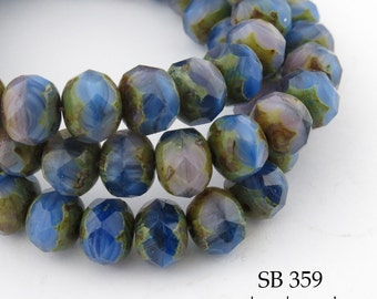 8mm Czech Glass Beads Faceted Rondelle, Water Way (SB 359) blueechobead 12 pcs