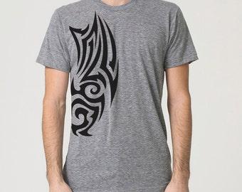 Tribal Tattoo Screen Print T-shirt, Grey Tri-Blend short sleeve shirt, Mens graphic tee, Gift for Him