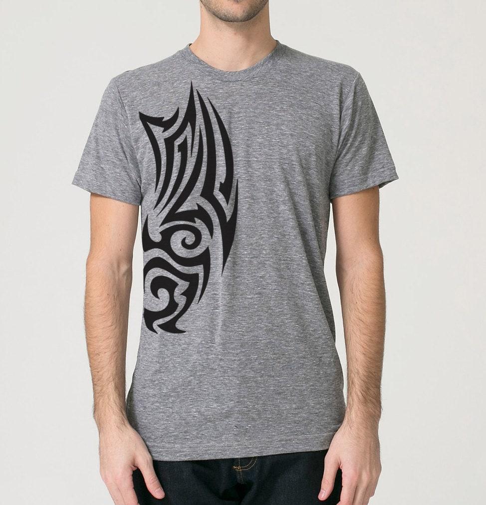 tribal tattoo screen print t shirt grey tri blend short. Black Bedroom Furniture Sets. Home Design Ideas