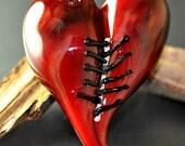 Mended Heart, Glass Lampwork, Boro Pendant