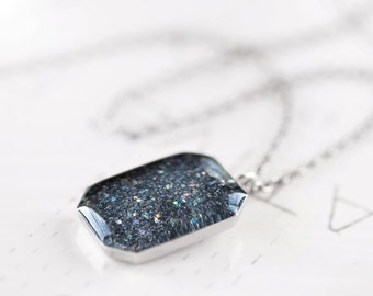 Sparkling Granite Necklace - Charcoal Grey Rainbow Sparkle Pendant Sterling Silver Necklace