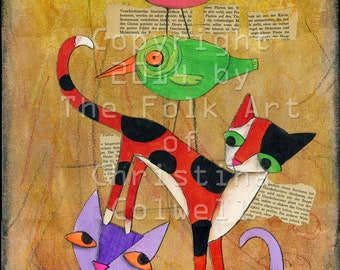 Cat Stack original mixed media on canvas panel,  modern contemporary, primitive raw folk art