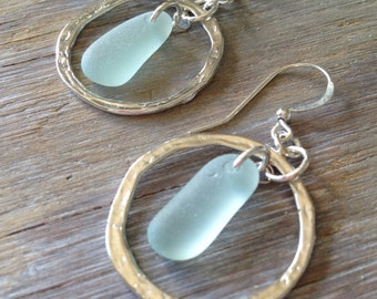 Genuine Sea Glass Jewelry Sea Glass Earrings Hammered Hoops