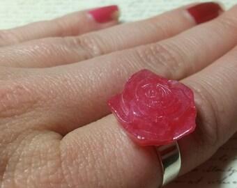 Pink Resin Rose Ring