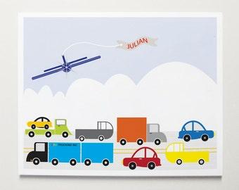 The City Custom Wall Art by ModernPOP - Cars, Trucks, Airplane, Art for boys room, playroom ideas, cityscape