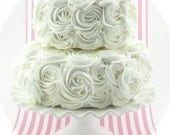 "White Rosette Fake Cake Stackable 2 Tier Cake Bottom Tier Approx. 9""w x 4.25""h Top Tier Approx. 6.75"" w x 4"" h Fab Photo Prop/Wedding Decor"