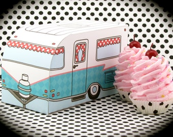 "Fake Cupcake Magnets & Retro Inspired Travel Trailer Gift Box Set ""Glamping Cupcake Collection"" Swell Birthday Gift Turquoise or Pink Box"