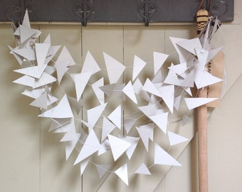 Geometric Paper Garland - Wedding Garland - Party Decor - Triangles -10 - 15 Feet Choose Your Length and Colour