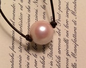 Vintage Pearl on Leather Cord Necklace Boho Hippie with bali style toggle closure