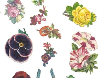 victorian floral mixed media  to cut out for any paper art project.