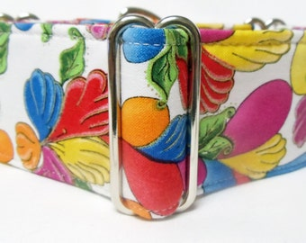 Colorful Petals Floral Cotton Greyhound, Whippet, Galgo, Sighthound, Great Dane, Dog Martingale Collar
