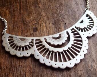 Scalloped lace bib necklace - sterling silver geometric statement necklace - boho bib necklace