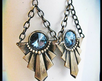 Antique Brass Art Deco and Swarovski Crystal Earrings- You choose the color