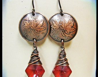 Canadian Maple Leaf Penny and Red Magma Swarovski Diamond Crystal Earrings