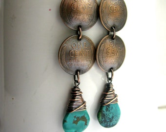 Domed Wheat Penny and Wire Wrapped Genuine Chinese Turquoise