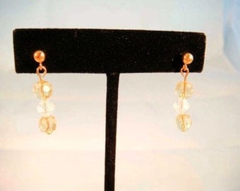 Gold Yellow and Clear Swarovski Crystal Short Dangle Earrings